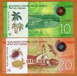 SET Nicaragua, 10;20 cordobas, 2014 (2015), P-209-210, POLYMER New Design, UNC
