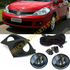 For Nissan Tiida Versa 2009~2013 Bumper Bezel LED Bulb Fog Light k Harness Set
