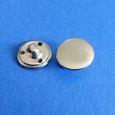 12 Metal Plain Flat Brass Pants Dress Sew On Buttons Shiny Silver 15mm 24L G216