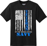 Navy Veteran US Flag Vintage  Patriotic America Gift T Shirt  New Graphic Tee