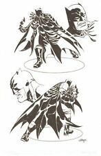 Batman Black and White Statue Design art - 2012 Signed art by Dave Johnson