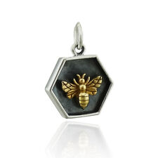 Sterling Silver Hexagon Charm with Bronze Bee - 925 Silver - Beehive Honey Queen