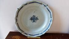 """Plat faience """"cul noir"""" Rouen Forges les eaux. XVIIIème. 36 cm.  Antique dish"""