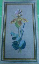 "New Eva Rosenstand Cross Stitch Kit Clara Weaver ""Yellow Orchid"" Linen 20x35 cm"