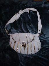 Betsey Johnson White leather with Gold accents shoulder bag with knot strap