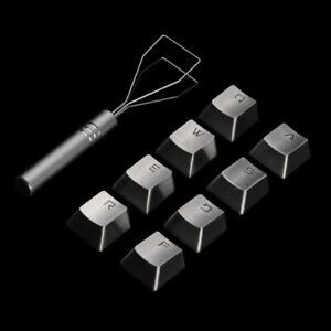 QWERASDF 8 Keys Gaming Metal Keycap + Keycaps Puller for MX Mechanical Keyboard
