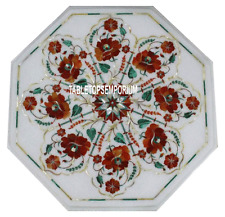"""15"""" White Marble Coffee Table Top Carnelian Inlay Marquetry Furniture Home Decor"""