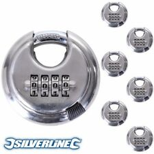 6 x STRONG SILVERLINE 4 DIGIT COMBINATION 70mm DISC PADLOCK Lifetime Guarantee