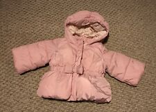 Adorable Baby Gap Girls Warmest Winter Hooded Jacket Coat 6-12 Month Pink Bow