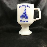 Vintage Walt Disney World Milk Glass Pedestal Footed Coffee Mug GRAMPA