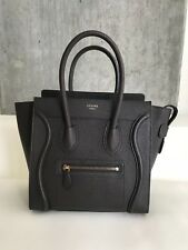 CELINE MICRO Luggage Tote Bag Pebbled Leather in Charcoal