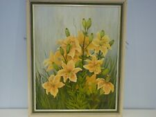 Original Oil Painting On Board Still Life, Lillies signed by Madeleine