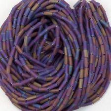 Iridescent Amethyst Bugle Beads 1 Inch Lot of 100