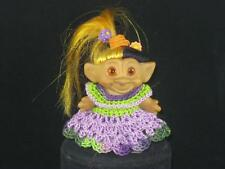"""2 3/4"""" VTG SCANDIA? 2 COLOR ROOTED HAIR,AMBER SPIRAL EYES & 4 COLOR OUTFIT u566"""