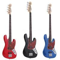 ammoon Electric Jazz Bass Guitar 4 String 24 Frets Basswood Body Blue Red Black