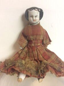 "5"" Miniature Dollhouse Antique China Shoulder Head flat black hair"