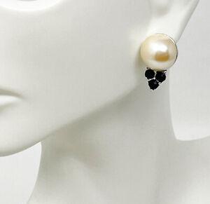 NWT Trifari Silver Tone Faux White Pearl Black Cabochon Stud Pierced Earrings