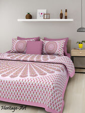 Indian Rajasthani Handmade Beautiful Pink Color Bed Sheet Two Pillow Covers Set