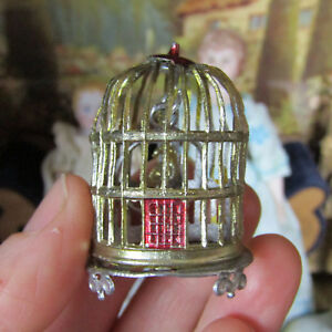 Antique Dollhouse SOFT METAL BIRD CAGE Birdcage Pet Vtg Miniature Animal Germany