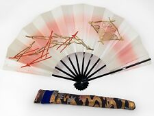 Vintage Japanese Geisha Odori 'Maiogi' FoldingDanceFan Brocade Case: Jan 19-J