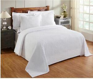 Better Trends Aspen 100% Cotton Tufted Chenille Striped Bedspread - TWIN - White