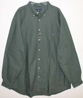 Polo Ralph Lauren Big and Tall Mens 2XB Green Twill Button-Front Shirt NWT 2XB