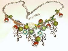 STATEMENT NECKLACE OF FRUITS & FOLIAGE by BONSNY - FREE UK P&P...CG0141