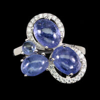 Unheated Oval Blue Tanzanite 8x6mm Cz White Gold Plate 925 Sterling Silver Ring