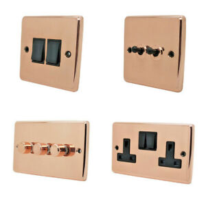 Bright Shiny Polished Copper Plug Sockets Light Switches Dimmers - Whole Range B