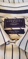 Men's Charles Tyrwhitt Poplin Weave Black/White Stripe Button Down Dress Shirt L