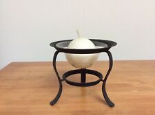 Black Metal Candle Holder with glass dish and round candle