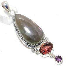 "Labradorite, Amethyst Gemstone Handmade 925 Sterling Silver Pendant 3.23"""
