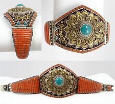 Superb Antique Vtg Chinese Tibet Silver, Red Coral, Turquoise Bat Bracelet 121g