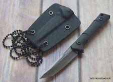 TACFORCE BLACK FINISH FULL TANG NECK KNIFE FIXED BLADE WITH HARD KYDEX SHEATH