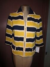 Vintage 1960's Butte Knit wool yellow navy nautical stripe boxy jacket