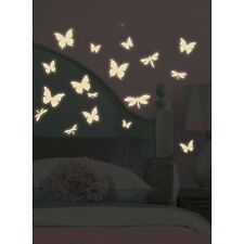 BUTTERFLIES DRAGONFLY 80 BiG Wall Sticker White GLOW IN DARK Room Decor Decal RM