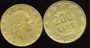 ITALIE   ITALY  200 lire 1988  ( bis )