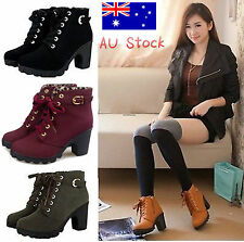 AU Winter Women's Lace Up Ankle Boots High Heel PU Leather Punk Buckle Shoes