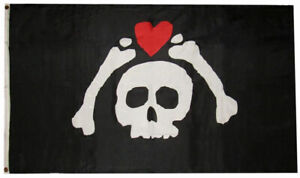 3x5 Pirate Bones Skelton Heart Microprose Micropose Flag 3'x5' Banner Grommets