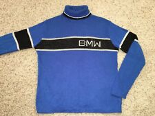 Vintage BMW Blue Knit California Made Orlon Acrylic Sweater Mens Large
