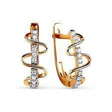 585 Russian Rose Gold 14ct Hoop Huggie Cluster Earrings Gift Boxed