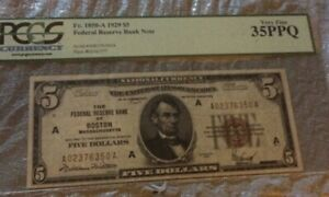 1929 $5  Federal Bank Note Boston  *Red* PCGS 35 PPQ