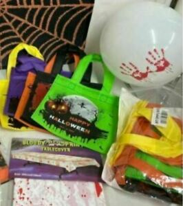 Halloween Bundle Balloons Signs Banners Blood Tablecloth Treat Bags AGE U