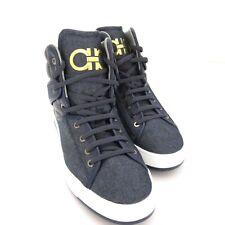 S-1531212 New Salvatore Ferragamo Nantes3 Denim HiTop Sneakers Shoes Size US 10D