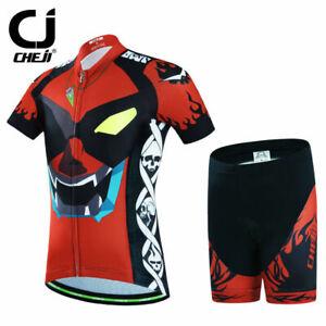 CHEJI iEyes Kids Cycle Clothing Girls Boys Cycling Jersey and Shorts Padded Set