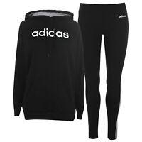 adidas Womens Tracksuit Set Fleece Long Sleeve Hooded Stripe Kangaroo Pocket