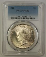 1922 US Peace Silver Dollar $1 Coin PCGS MS-63 (17b) (Better)
