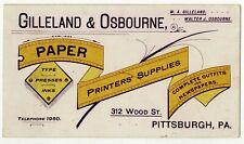 Gilleland & Osbourne Printer Supplies Victorian Advertising Trade Card