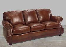 Leather Sofa 100% Top Grain Alligator Embossing Brandy Brown U.S. Built New