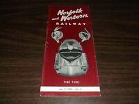 JUNE 1953 N&W NORFOLK AND WESTERN RAILWAY PUBLIC TIMETABLE #3